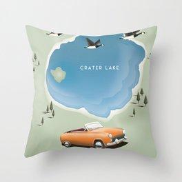 Crater Lake Oregon Travel Poster Throw Pillow