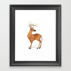 Low Poly White-tailed Deer Framed Art Print