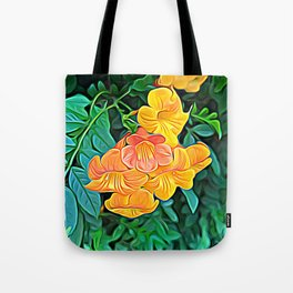 Orange Flowers of Flowing Circuitry Tote Bag