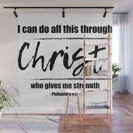 Christian,Bible Quote,I can do all this through Christ,Philippians 4:13 Wall Mural