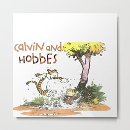 in the mud calvin and hobbes Metal Print