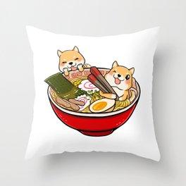 Shiba Inu Ramen Throw Pillow
