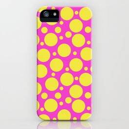 Polka Dots in Hot Pink & Sunny Yellow iPhone Case