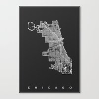 chicago map Canvas Prints featuring CHICAGO MAP by Nicksman