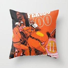 Vintage 1970s Australian Race Poster Throw Pillow