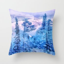 Winter forest in mountains Throw Pillow
