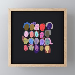 Faces on black Framed Mini Art Print