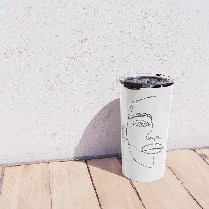 Face one line illustration - Hattie Travel Mug