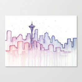 Seattle Skyline Watercolor Canvas Print