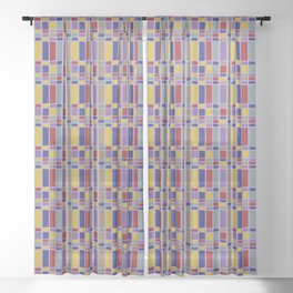 Keyboard Plaid-Retro Sheer Curtain
