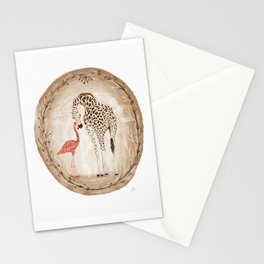 Precious Love Giraffe and Flamingo Watercolor Painting , Unlikely Lovers Hope Stationery Cards