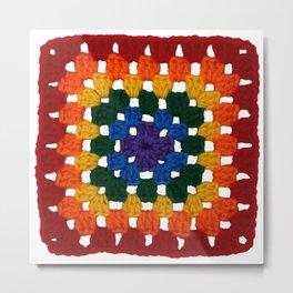 Rainbow Pride Vintage Crochet Granny Square Metal Print