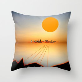 Horizon Sunset Orange Blue Throw Pillow