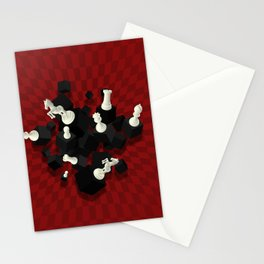 Chessboard and 3D Chess Pieces composition on red Stationery Cards