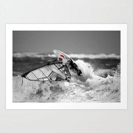 surf santa - wind surf Art Print