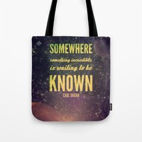 carl sagan Tote Bags featuring Space Exploration (Carl Sagan Quote) by taudalpoiart
