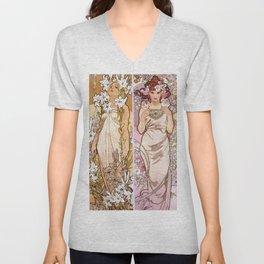 "Alfons Mucha, "" four flowers "" Unisex V-Neck"