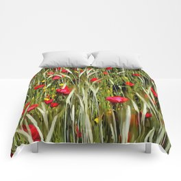 Red Poppies In A Cornfield Comforters