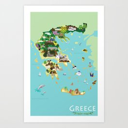 Illustrated Graphic Map of Greece Art Print
