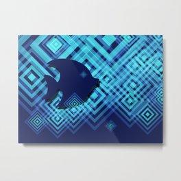 Blue Fish Angel Anglers Angles Metal Print