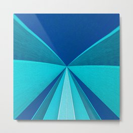 Retro Minimalist Blue Geometric Landscape Metal Print