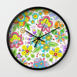 Background colorful flowers, doodleart, abstract graphic-desing vector pattern Wall Clock