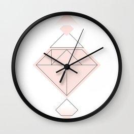 Tangram Diamond Linework Pink Wall Clock