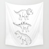 dinosaurs Wall Tapestries featuring dinosaurs by Hannah Elizabeth