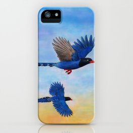 Taiwan Blue Magpies (2) iPhone Case