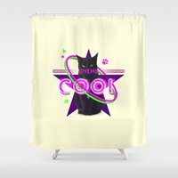 soviet Shower Curtains featuring Very Cool Soviet Cat by Asafeider