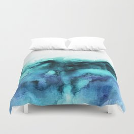 Abstract teal purple watercolor Duvet Cover