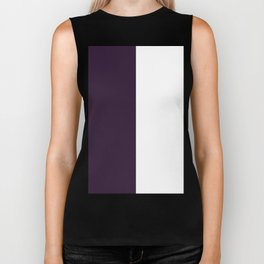 White and Dark Purple Vertical Halves Biker Tank