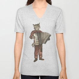 Accordion Cat with Goggles and Mask Unisex V-Neck