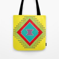 kilim Tote Bags featuring Persian Kilim - Yellow Background by Katayoon Photography & Design
