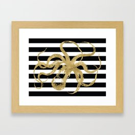 Gold Octopus on Black & White Stripes Framed Art Print