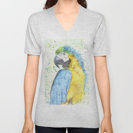 """Watercolor Painting of Picture """"Macaw"""" Unisex V-Neck"""