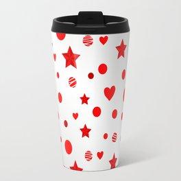Red star, dot, heart Travel Mug