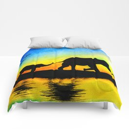 African Sunset Elephant Silhouette Comforters