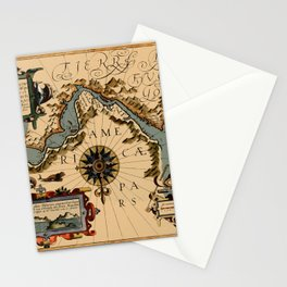 Map Of The Strait Of Magellan 1611 Stationery Cards