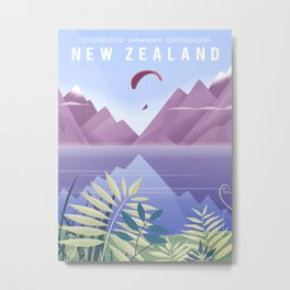 New Zealand Travel Poster Metal Print