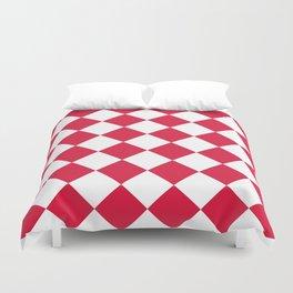 Large Diamonds - White and Crimson Red Duvet Cover