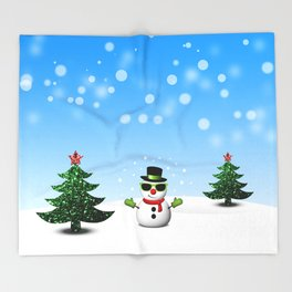 Cool Snowman and Sparkly Christmas Trees Throw Blanket