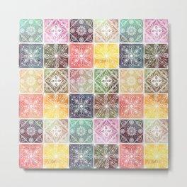 Trendy White Geometric Ornament Colorful Tile Art Metal Print