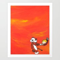 calvin and hobbes Art Prints featuring Calvin & Hobbes Dancing - Orange by Always Add Color