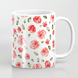 Red Roses Watercolor // Hand Painted Watercolor Floral // Rose Red and Leaf Green Coffee Mug
