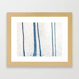 Parallel Universe [vertical]: a pretty, minimal, abstract piece in lines of vibrant blue and white Framed Art Print