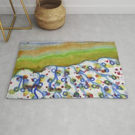 Curved Hill with Blue Rings Rug