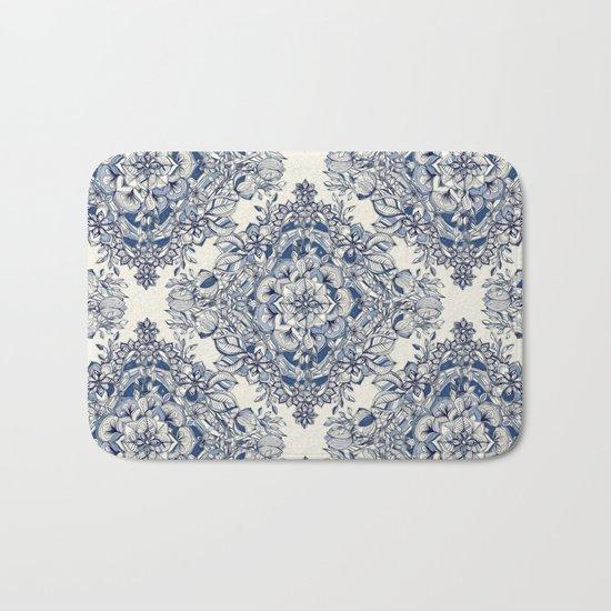 Floral Diamond Doodle in Dark Blue and Cream Bath Mat