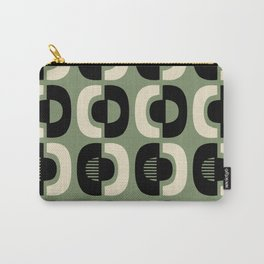 Retro Mid Century Modern Pattern 114 Black and Sage Green Carry-All Pouch