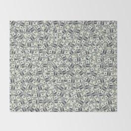 Giant money background 100 dollar bills / 3D render of thousands of 100 dollar bills Throw Blanket
